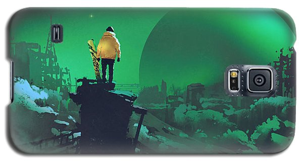 Cold Galaxy S5 Case - Man With A Snowboard Standing Against by Tithi Luadthong