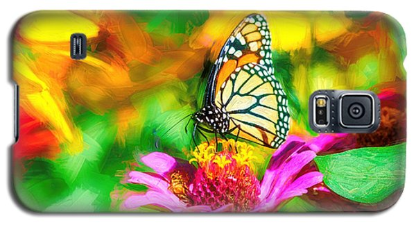 Monarch Butterfly Impasto Colorful Galaxy S5 Case