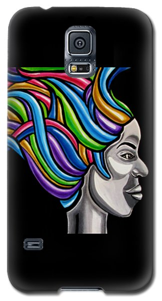 Colorful 3d Abstract Painting, Black Woman, Colorful Hair Art Artwork - African Goddess Galaxy S5 Case