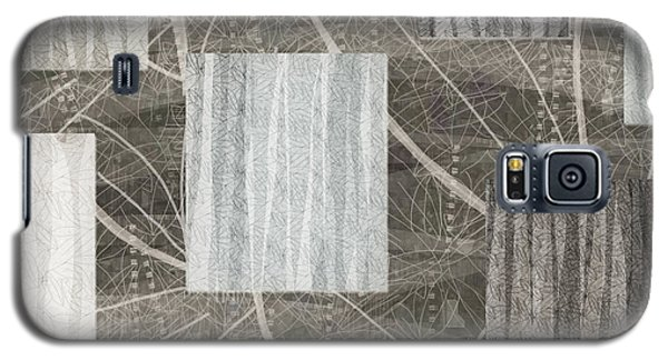 Neutral Leaf Print Squares Cream Galaxy S5 Case