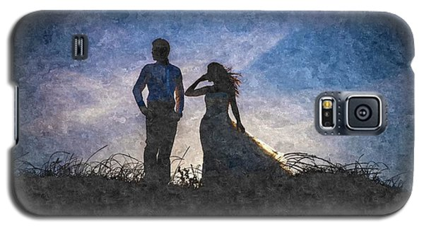 Newlywed Couple After Their Wedding At Sunset, Digital Art Oil P Galaxy S5 Case