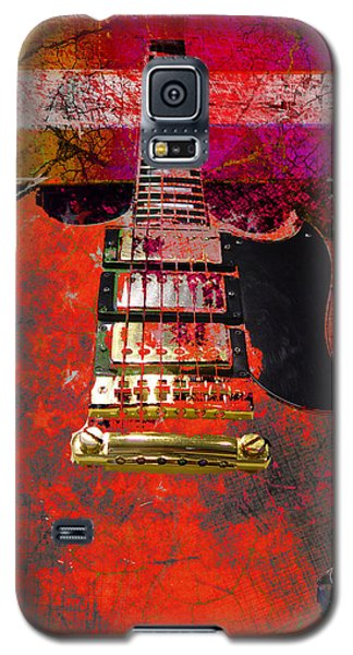 Orange Electric Guitar And American Flag Galaxy S5 Case
