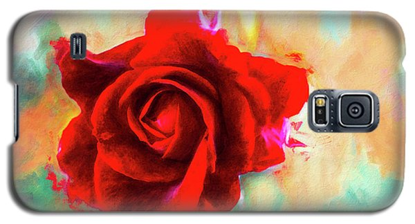 Painted Rose On Colorful Stucco Galaxy S5 Case