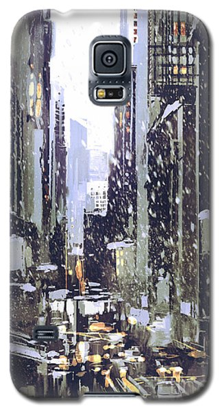 Cold Galaxy S5 Case - Painting Of Winter City With by Tithi Luadthong
