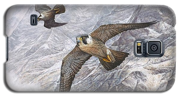 Pair Of Peregrine Falcons In Flight Galaxy S5 Case