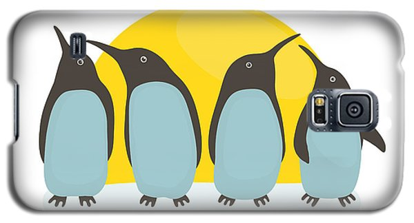 Cold Galaxy S5 Case - Penguins And Sun. Illustration Of by Popmarleo