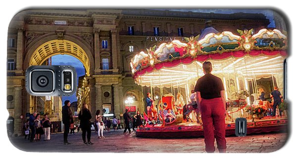 People At Piazza Della Reppublica At Night In Florence, Italy - Painterly Effect Galaxy S5 Case