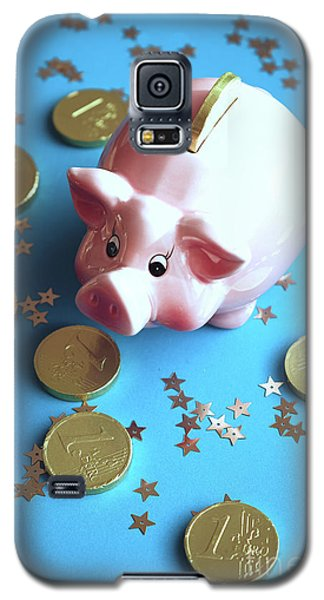 Piggy Bank On The Background With The  Chocoladen Coins Galaxy S5 Case