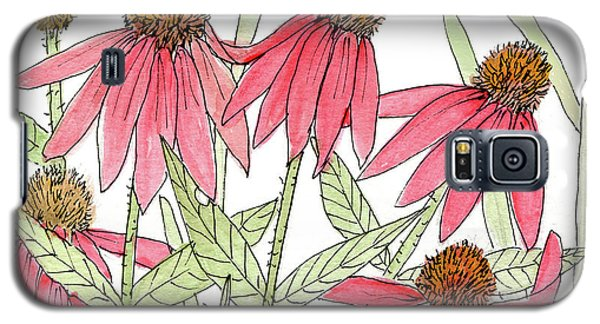 Pink Coneflowers Gather Watercolor Galaxy S5 Case