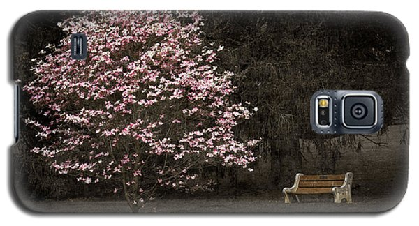 Pink Dogwood Tree And A Bench Galaxy S5 Case