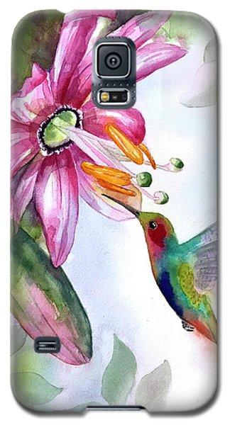 Pink Flower For Hummingbird Galaxy S5 Case