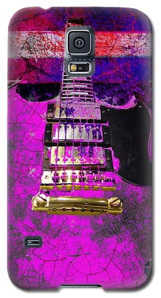 Pink Guitar Against American Flag Galaxy S5 Case
