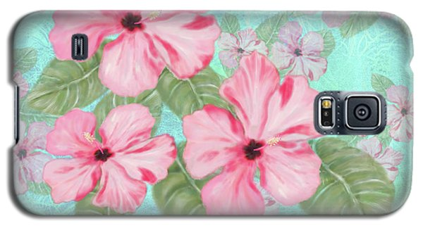 Pink Hibiscus Print On Aqua Galaxy S5 Case