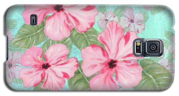 Pink Hibiscus Print On Aqua Galaxy S5 Case