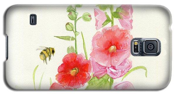 Pink Hollyhock Watercolor Galaxy S5 Case