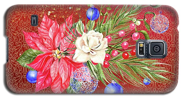 Poinsettia With Blue Ornaments  Galaxy S5 Case
