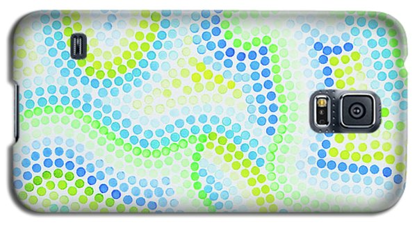 Pointillism - Blue And Green Curves Galaxy S5 Case