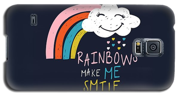 Rainbows Make Me Smile - Baby Room Nursery Art Poster Print Galaxy S5 Case