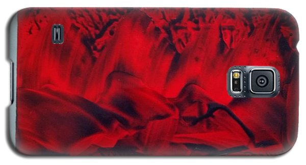 Red And Black Encaustic Abstract Galaxy S5 Case
