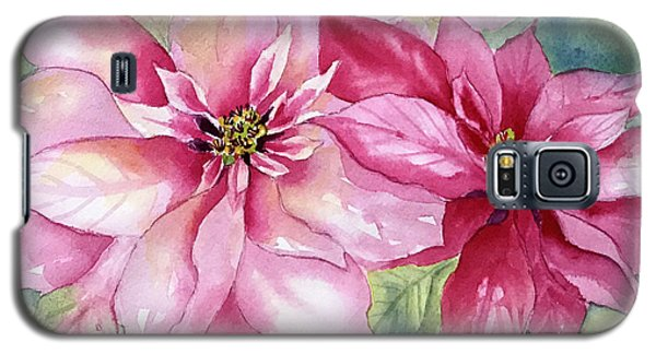 Red And Pink Poinsettias Galaxy S5 Case