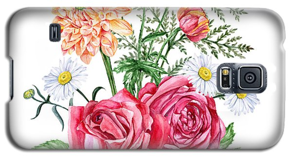 Branch Galaxy S5 Case - Red Roses, Orange Dahlias, Poppies And by Jena velour