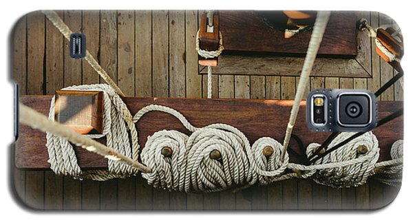 Ropes To Hold The Sails Of An Old Sailboat Rolled. Galaxy S5 Case