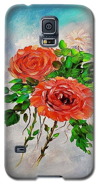 Galaxy S5 Case featuring the painting Roses by Mary Scott