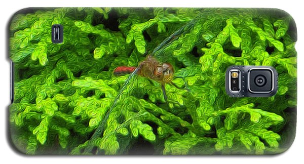 Galaxy S5 Case featuring the photograph Scarlet Darter Male Dragonfly by Rockin Docks