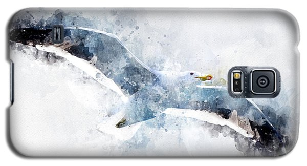 Seagull In Flight With Watercolor Effects Galaxy S5 Case