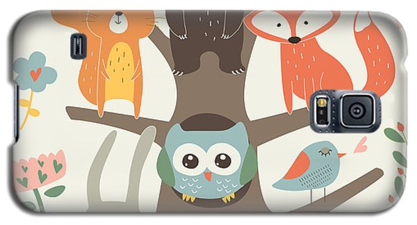 School Galaxy S5 Case - Set Of Forest Animals In Cartoon Style by Kaliaha Volha