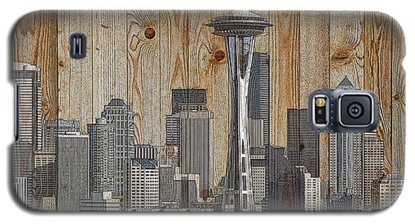 Skyline Of Seattle, Usa On Wood Galaxy S5 Case