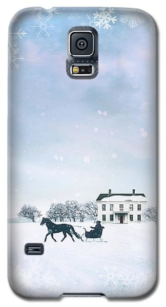 Sleigh With Horse In Snow Winter Scene Galaxy S5 Case