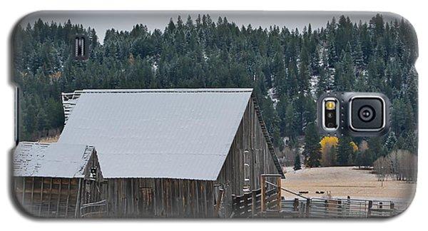 Snowy Barn Yellow Tree Galaxy S5 Case