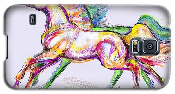 Crayon Bright Horses Galaxy S5 Case