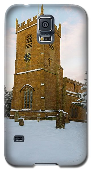 Stone Church In The Snow At Sunset Galaxy S5 Case