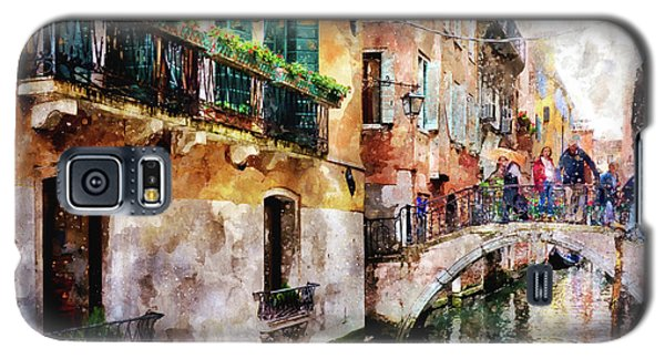 People On Bridge Over Canal In Venice, Italy - Watercolor Painting Effect Galaxy S5 Case