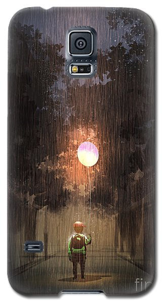 Cold Galaxy S5 Case - The Little Boy Holding A Bulb Balloon by Tithi Luadthong