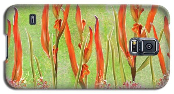 Tropical Floral Print Lime Green Batik Galaxy S5 Case