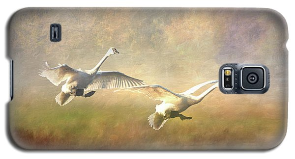 Trumpeter Swan Landing - Painterly Galaxy S5 Case
