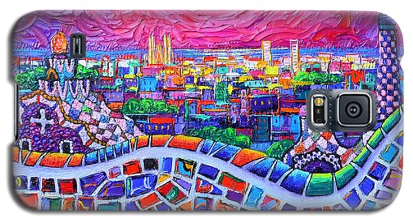 Vibrant Barcelona Night View From Park Guell Modern Impressionism Knife Painting Ana Maria Edulescu Galaxy S5 Case