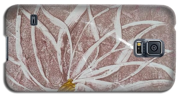 White Abstract Floral On Silverpastel Pink Galaxy S5 Case