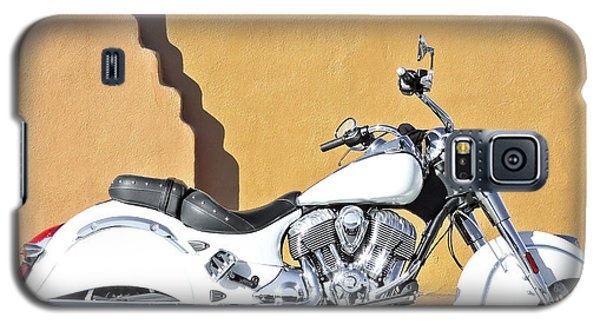 Galaxy S5 Case featuring the photograph White Indian Motorcycle by Britt Runyon