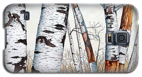 Wild Birch Trees In The Forest In Watercolor Galaxy S5 Case