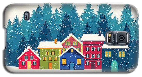Cold Galaxy S5 Case - Winter Mountain Houses. Winter Landscape by Gokcen Gulenc
