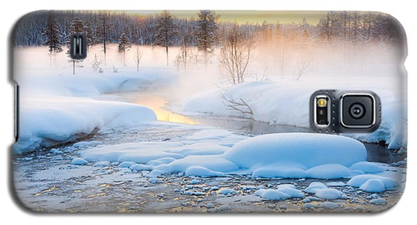 Icy Galaxy S5 Case - Winter Sundown In Forest And River With by Taiga
