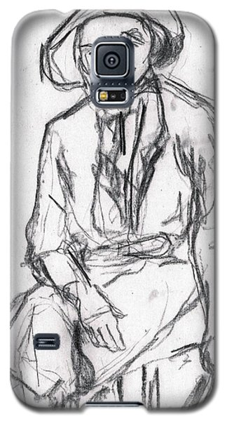 Woman In A Hat Drawing Galaxy S5 Case