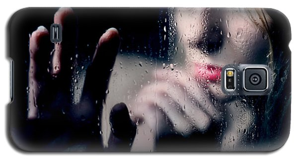 Woman Portrait Behind Glass With Rain Drops Galaxy S5 Case