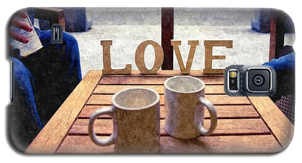 Word Love Next To Two Cups Of Coffee On A Table In A Cafeteria,  Galaxy S5 Case