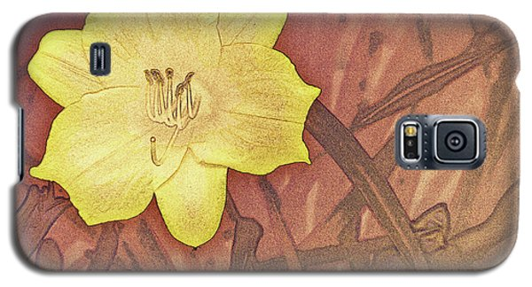 Yellow Day Lily Stencil On Sandstone Galaxy S5 Case