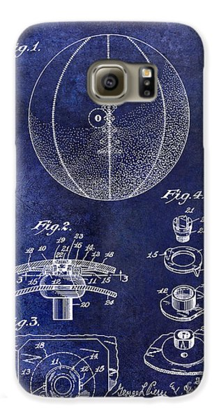 1927 Basketball Patent Drawing Blue Galaxy S6 Case by Jon Neidert